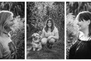Familienportrait Collage aus drei Bildern. Mädchen mit Hund in der Mitte. Mann links und Frau rechts mit Blick zur Mitte.