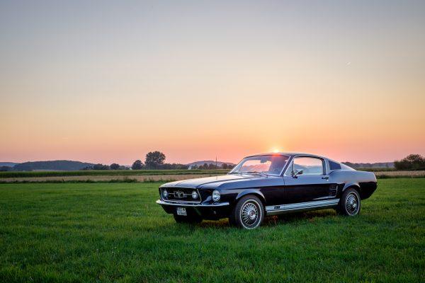 Sonne scheint über Dach eines 67er Ford Mustang. Auto steht auf Wiese.
