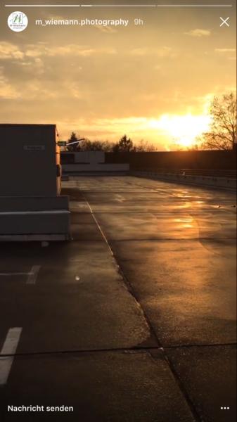 Sonnenaufgang auf dem Parkhaus vor dem Shooting