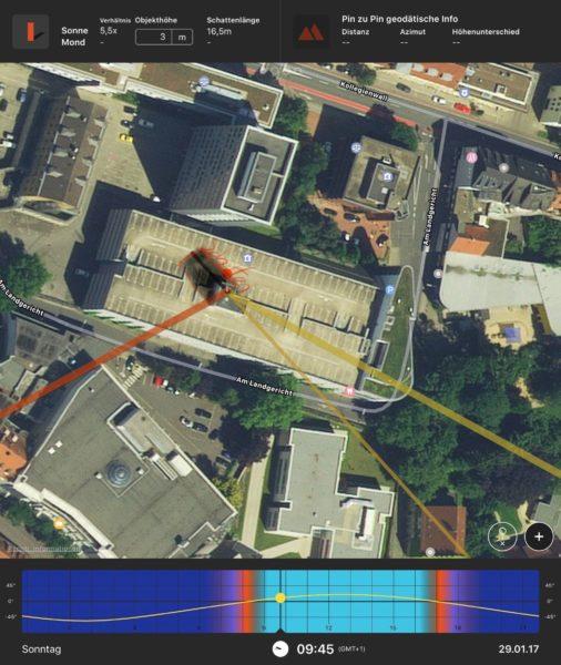 Parkhaus 2 Planung des Ortes für ein Shooting mit PhotoPills