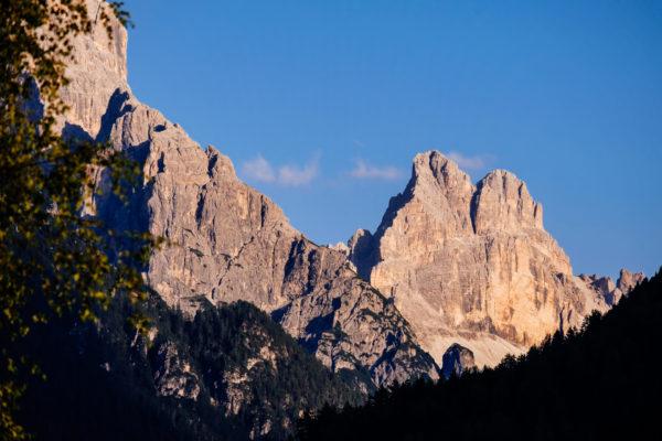 Blick auf Dolomiten bei Sonnenuntergang
